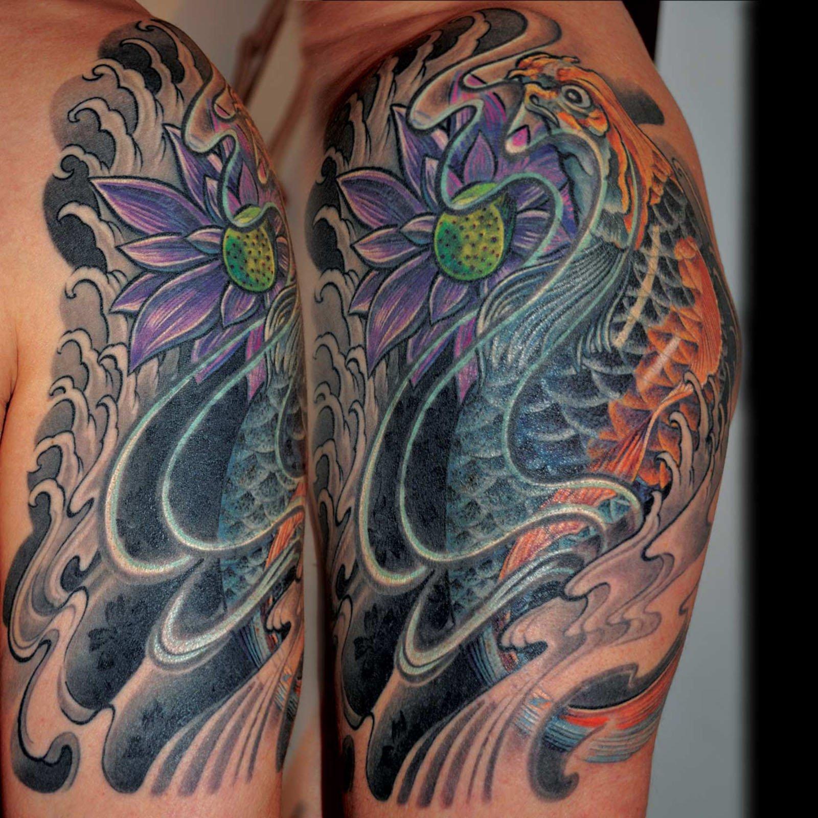 Koi japanisches Cover up Tattoo Überdeckung München Spezialist