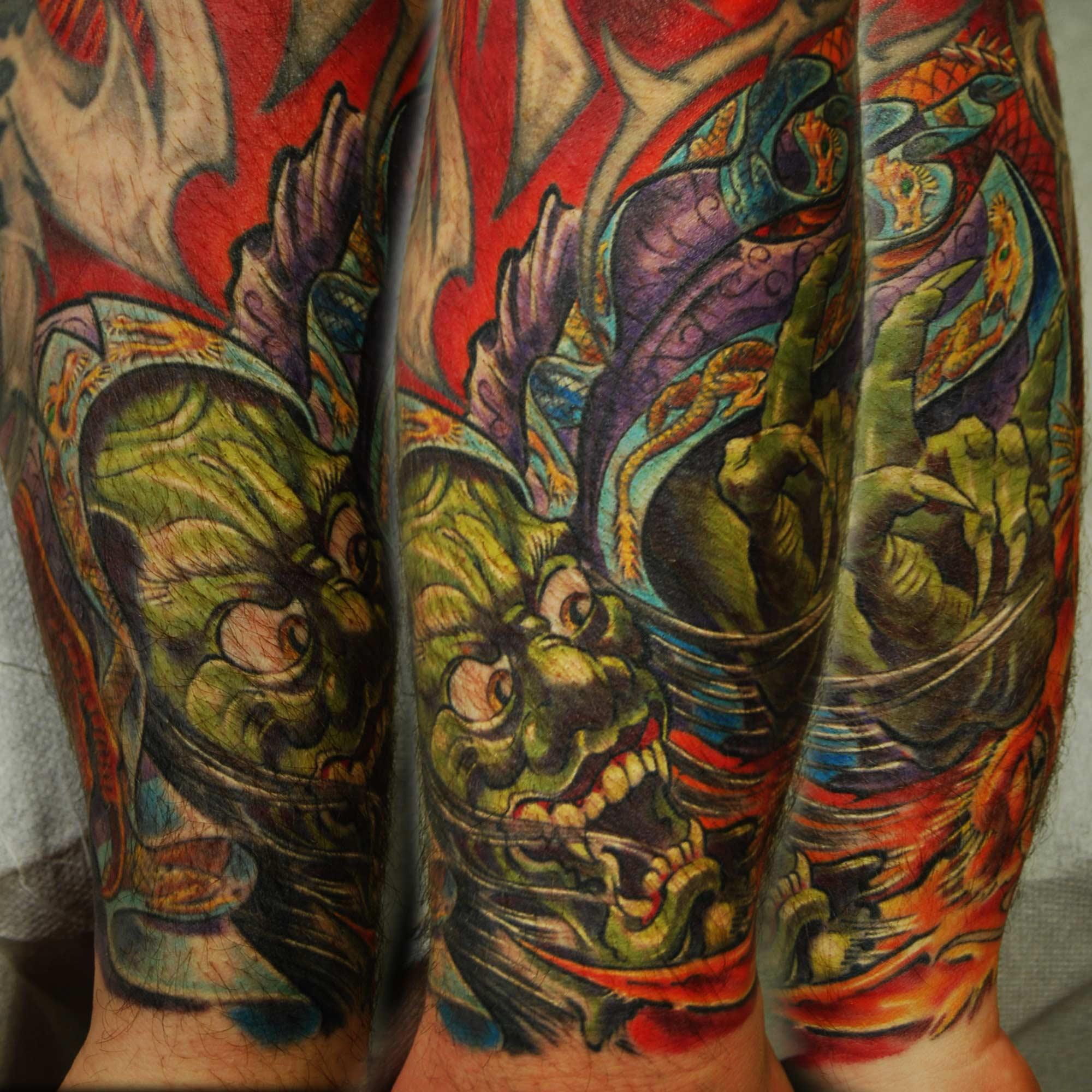 japanische Oni Yokai Tattoo mit Drachen Cover up Tattoo Überdeckung Spezialist