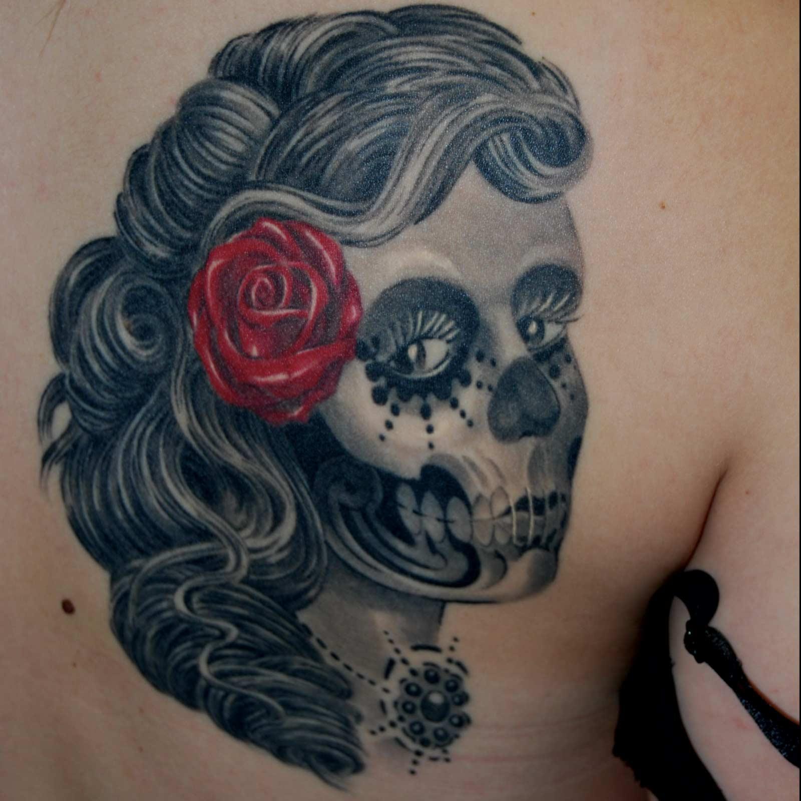 la catrina Sugarskull Day of the dead Totenkopf frau Tattoo München  mit bester Empfehlung