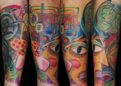 Picasso vs Hundertwasser Tribal-Ghecko Überdeckungs Tattoo