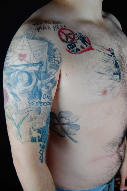Trash Tattoo-Banksy inspired Hits for LIfe Shit for Life it for Life Tattoo Raul München Taufkirchen