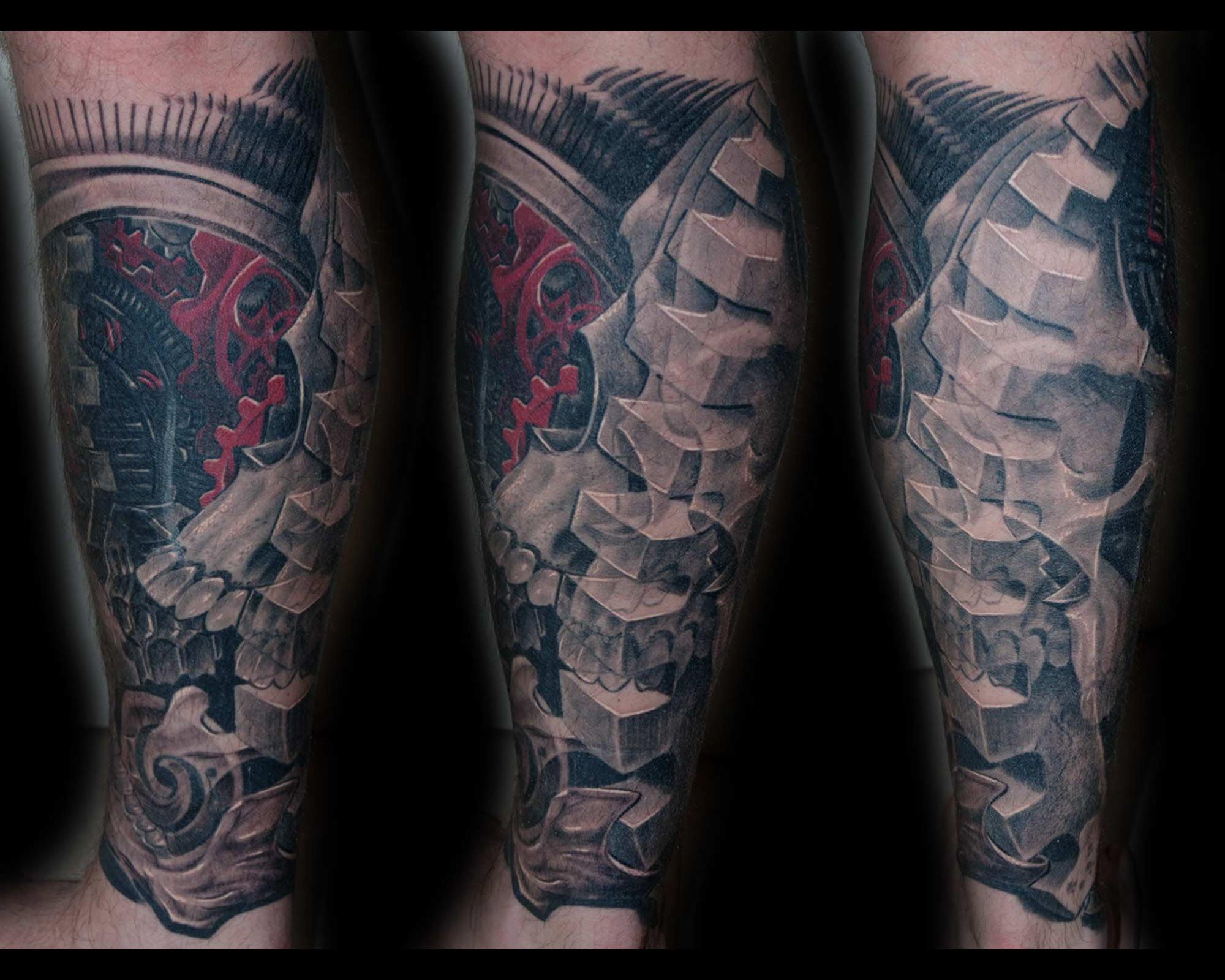 biomechanik cover  tattoo schaedel ueberdeckung mit zahnraedern
