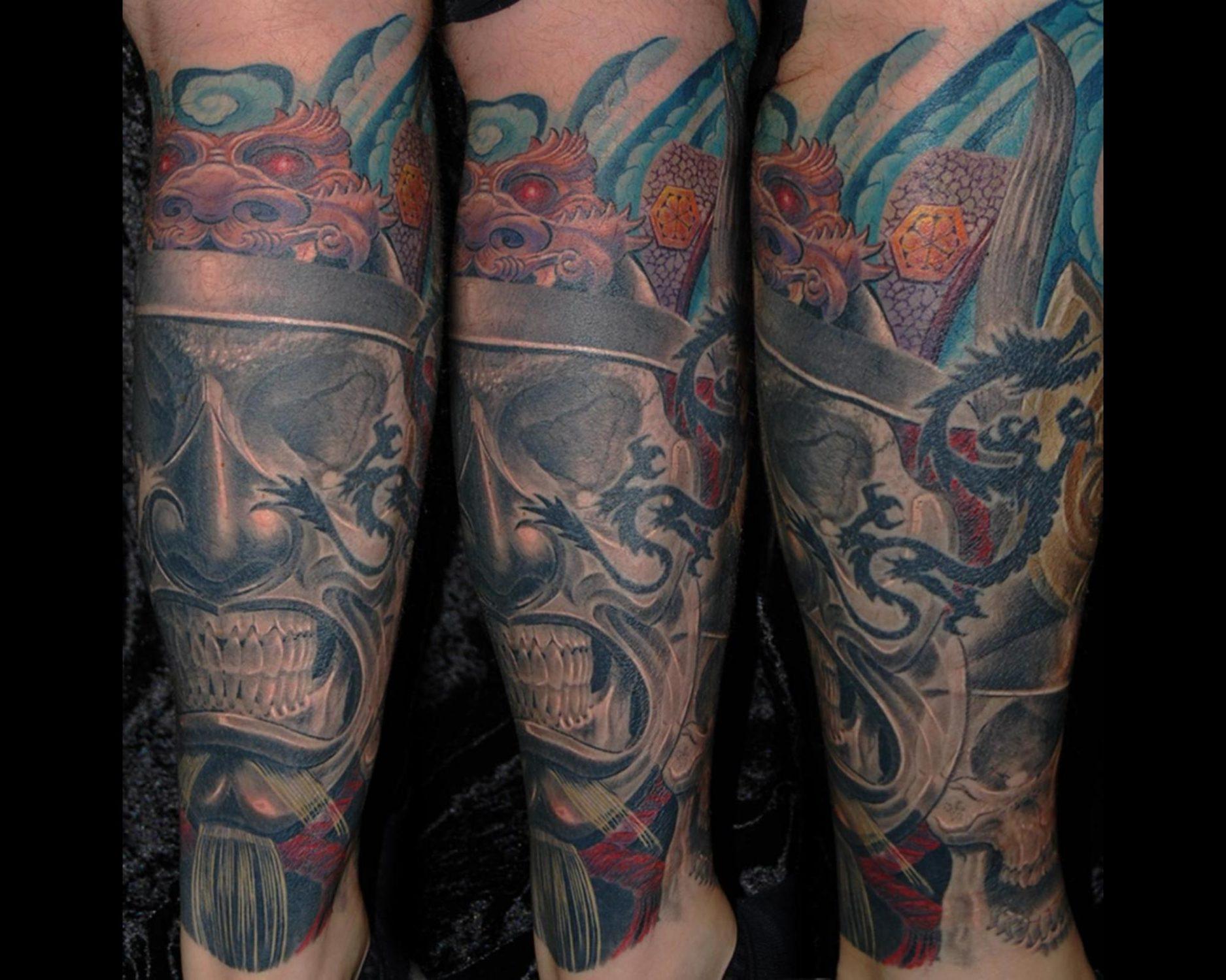 shit for life tattoo raul samurai skull