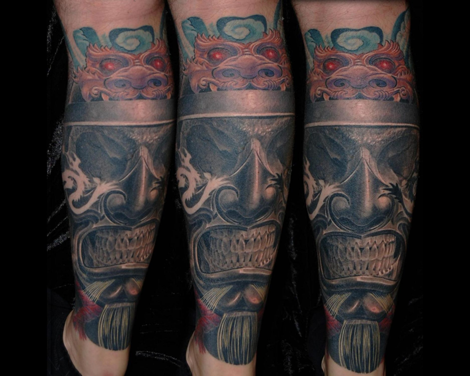 Samurai Schädel Totenkopf mit Drachen Tattoo München Shit for life Cover up Überdeckung Erweiterung