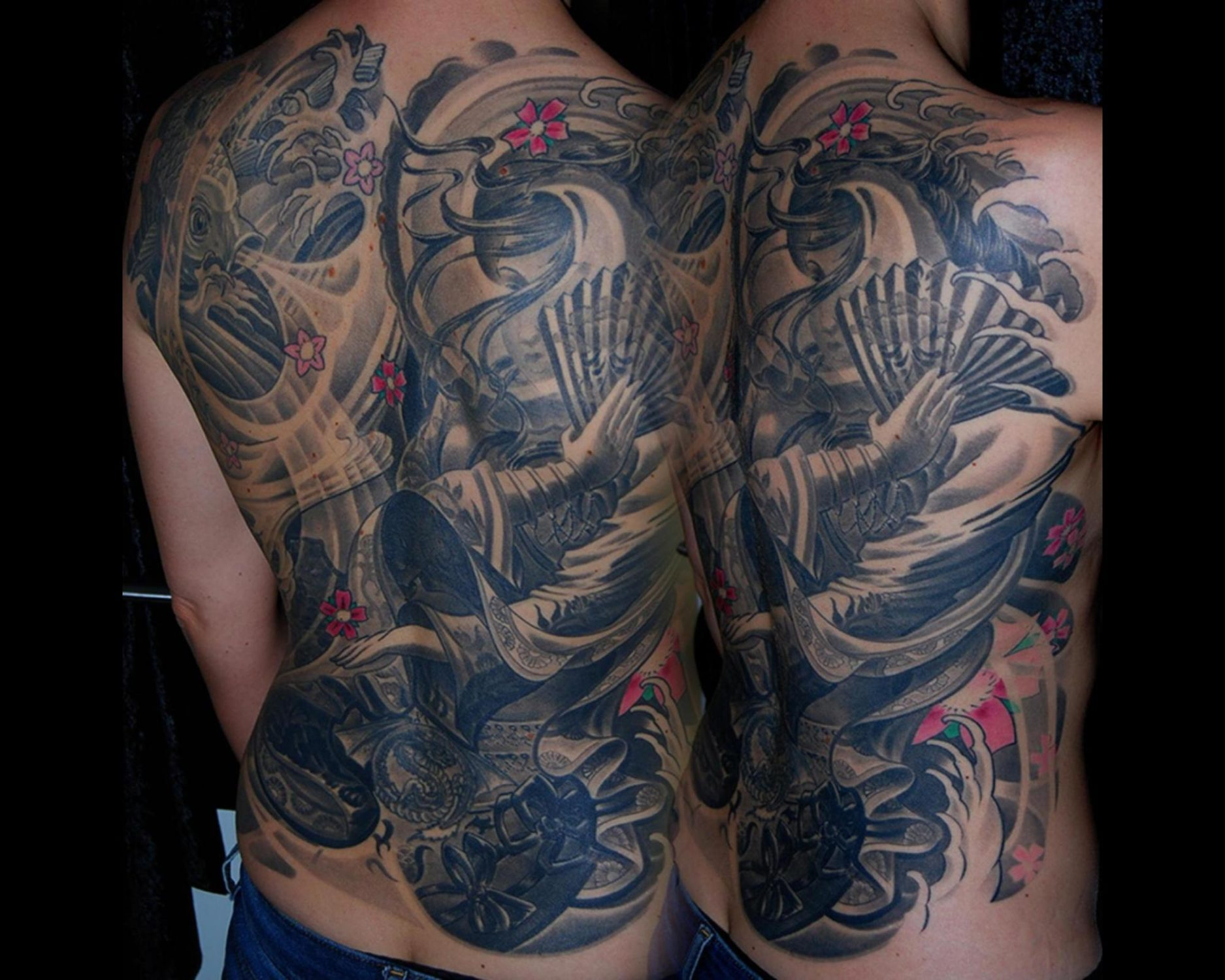 japanese geisha tattoo fullback cover-up