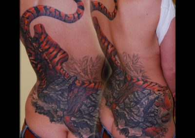 Tribal Cover-up Tattoo mit Tiger