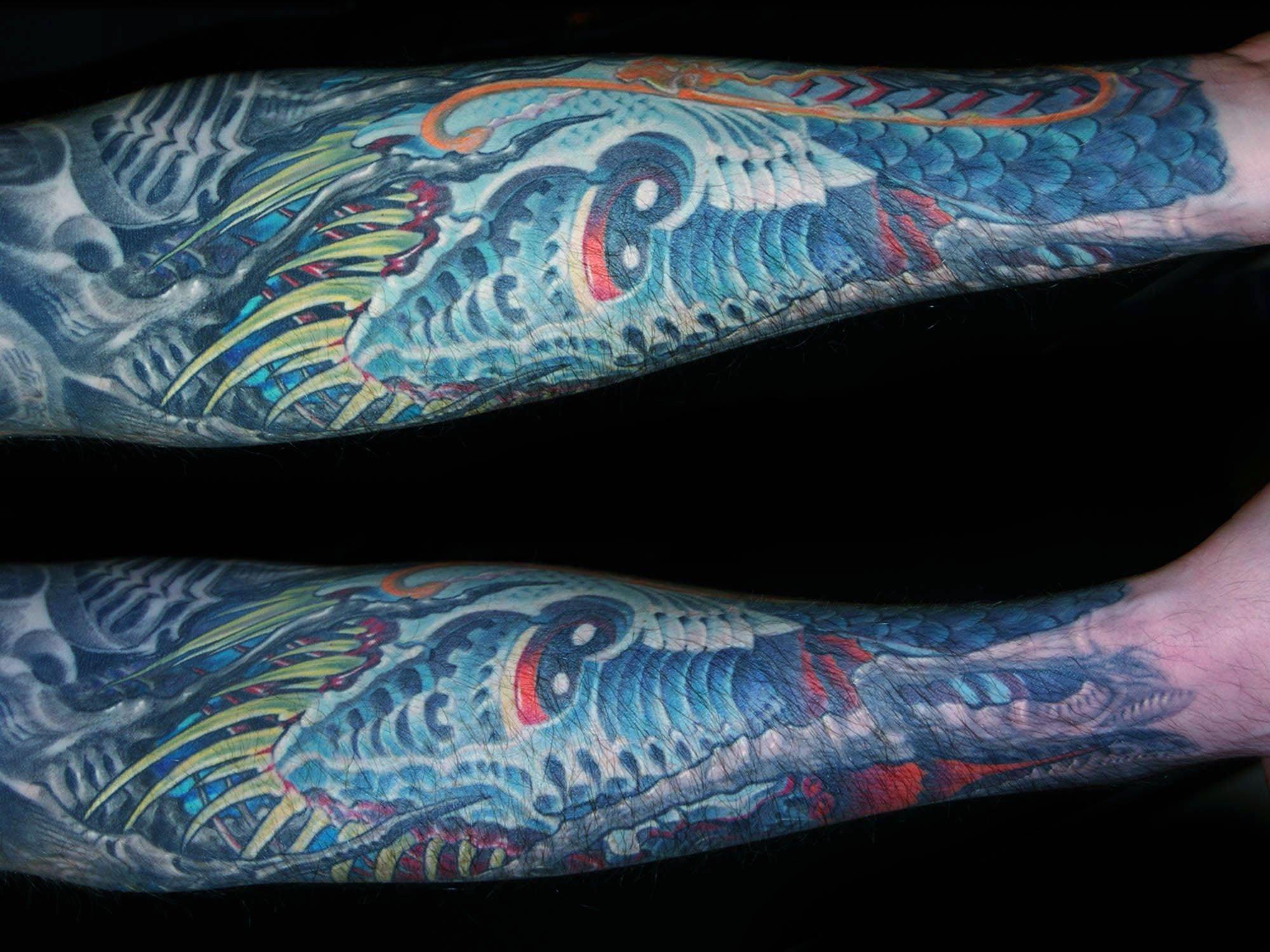 Biomechanik-Unterarm-Unterwasser-Fisch-Tattoo-2-Muenchen