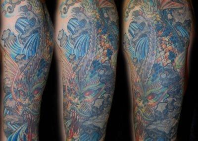 Drachen Fisch Coverup Überdeckung Tattoo