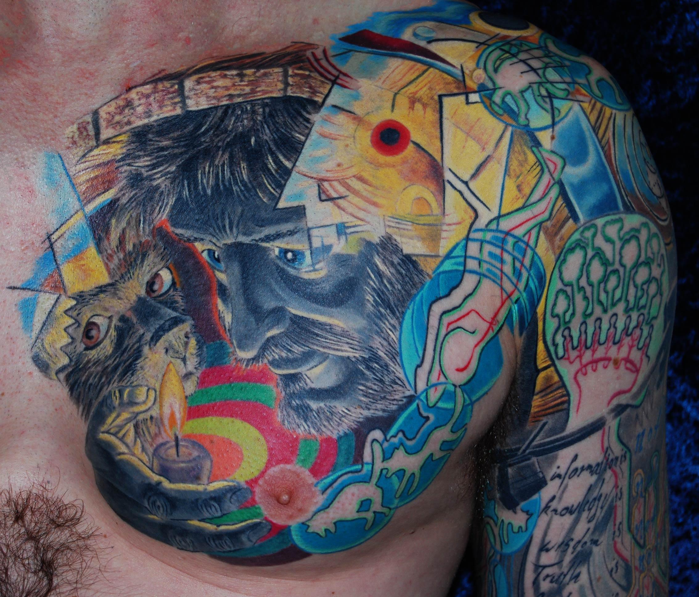 Kandinski Tattoo Kollage mit Diogenes in der Tonne und Hund