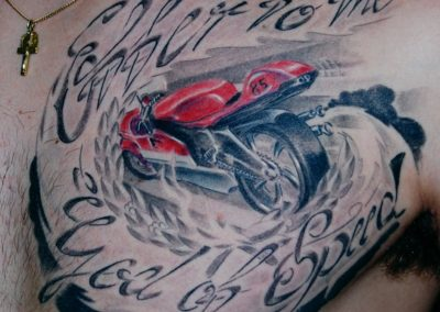 "Motorrad Tattoo "" Offer to the Gods of Speed """