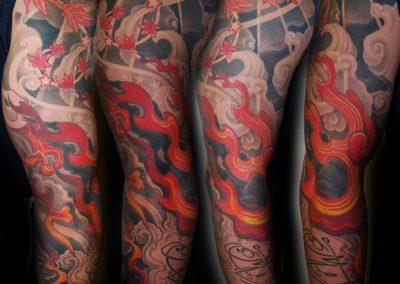 japanisches Flammen Tattoo mit Wolken