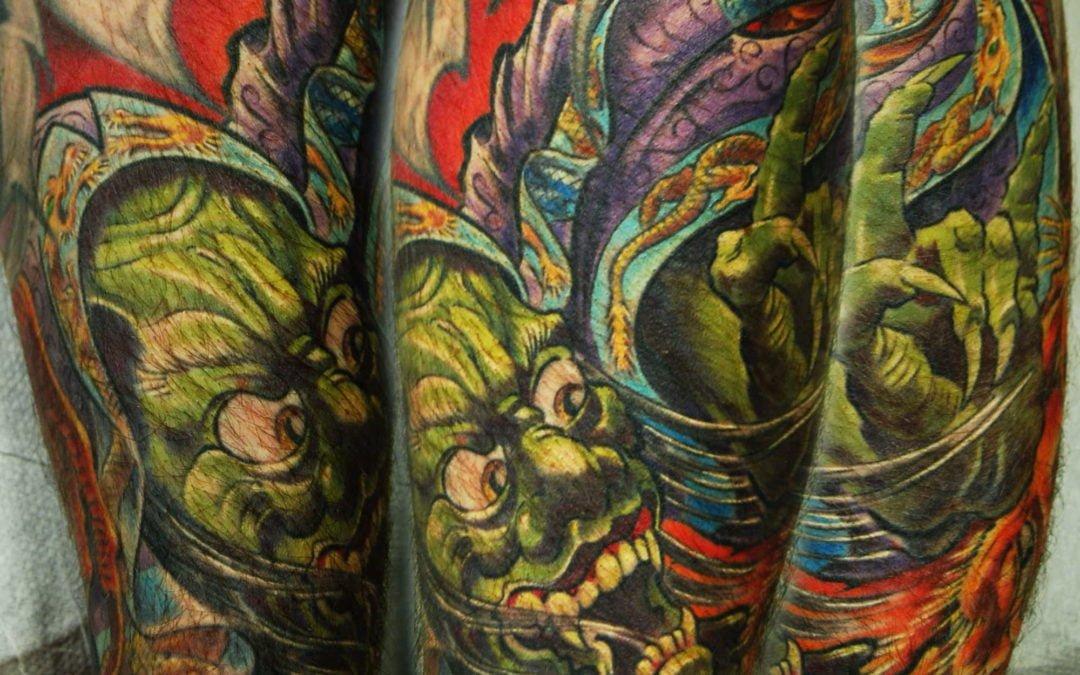 japanischer Oni Dämon Tattoo München