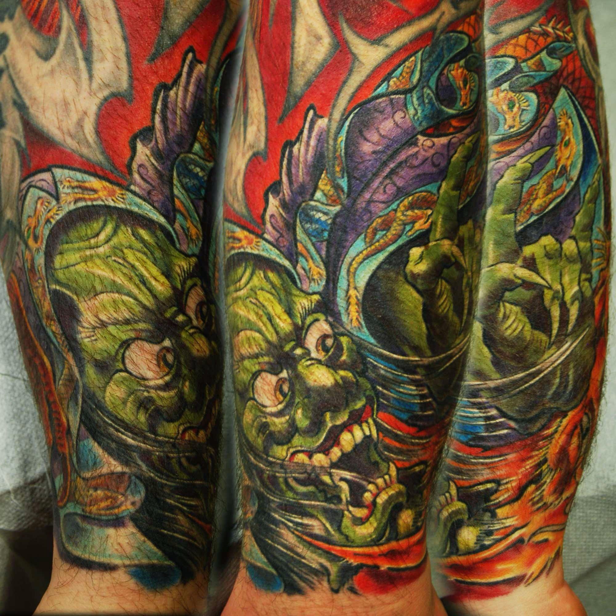japanischer Oni Dämon Tattoo mit Drache München