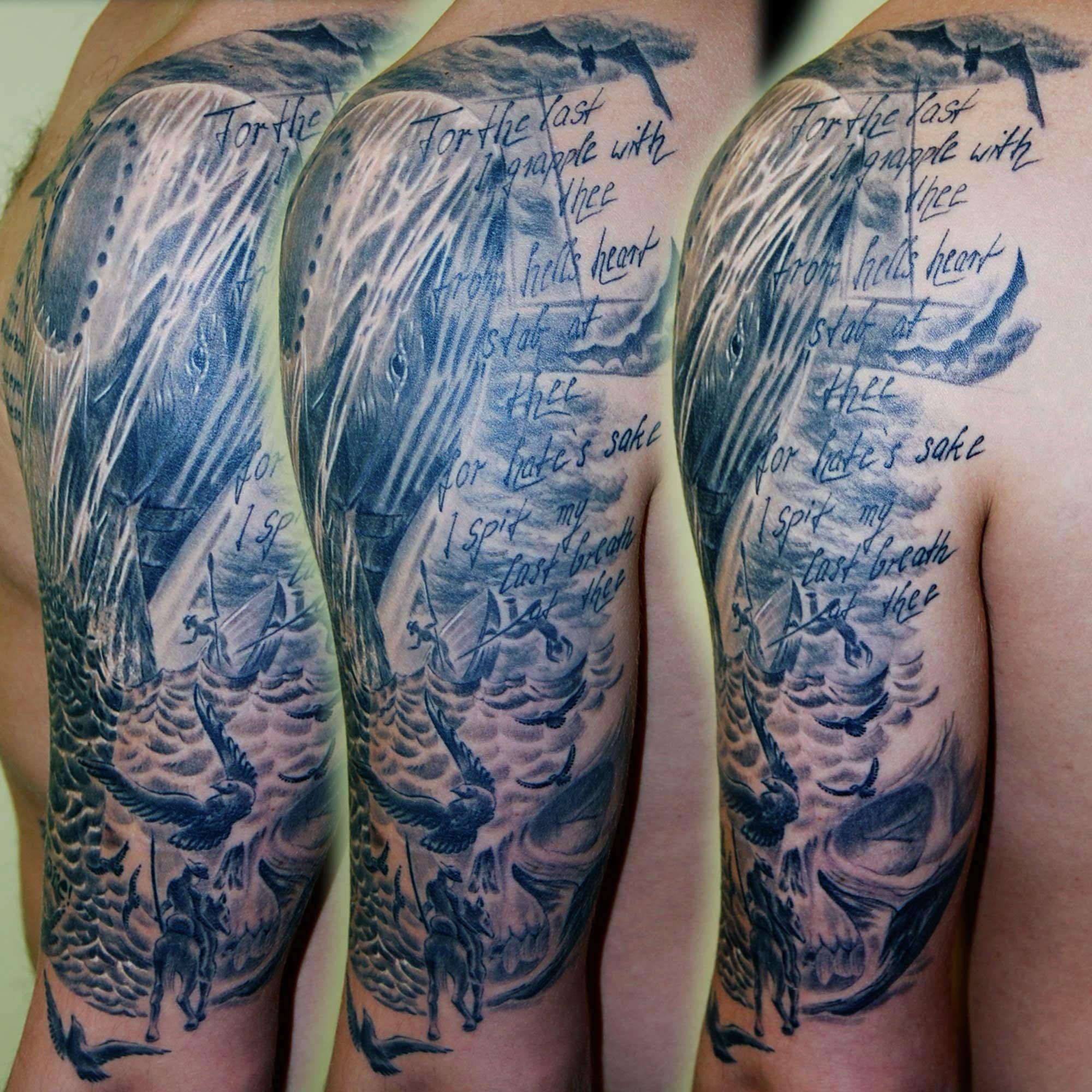 """Trash Tattoo mit Wal und Text aus Edgar Allen Poe """" der Rabe"""" München"""