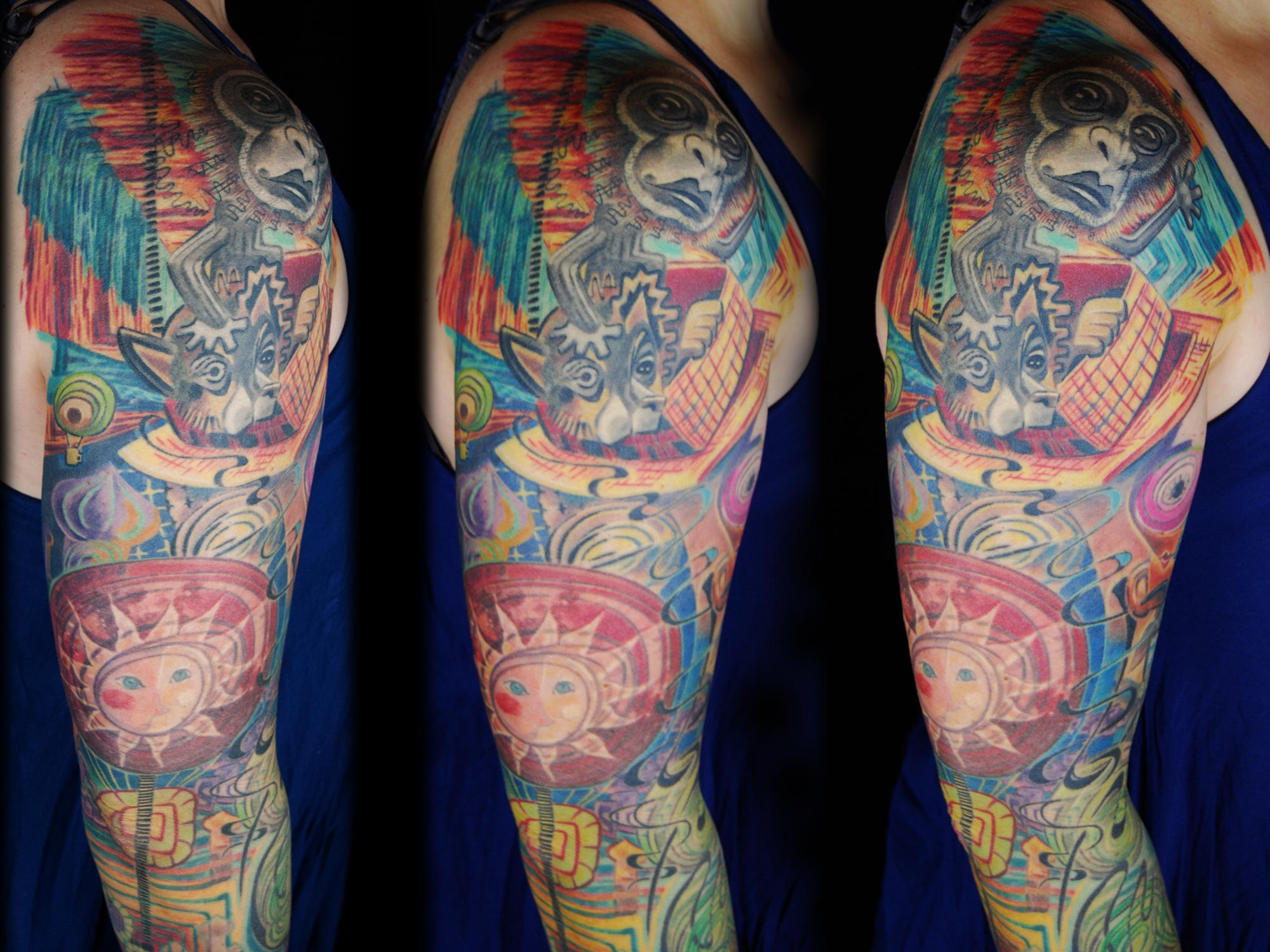Hundertwasser vs Dali crazy tattoo Cover-up