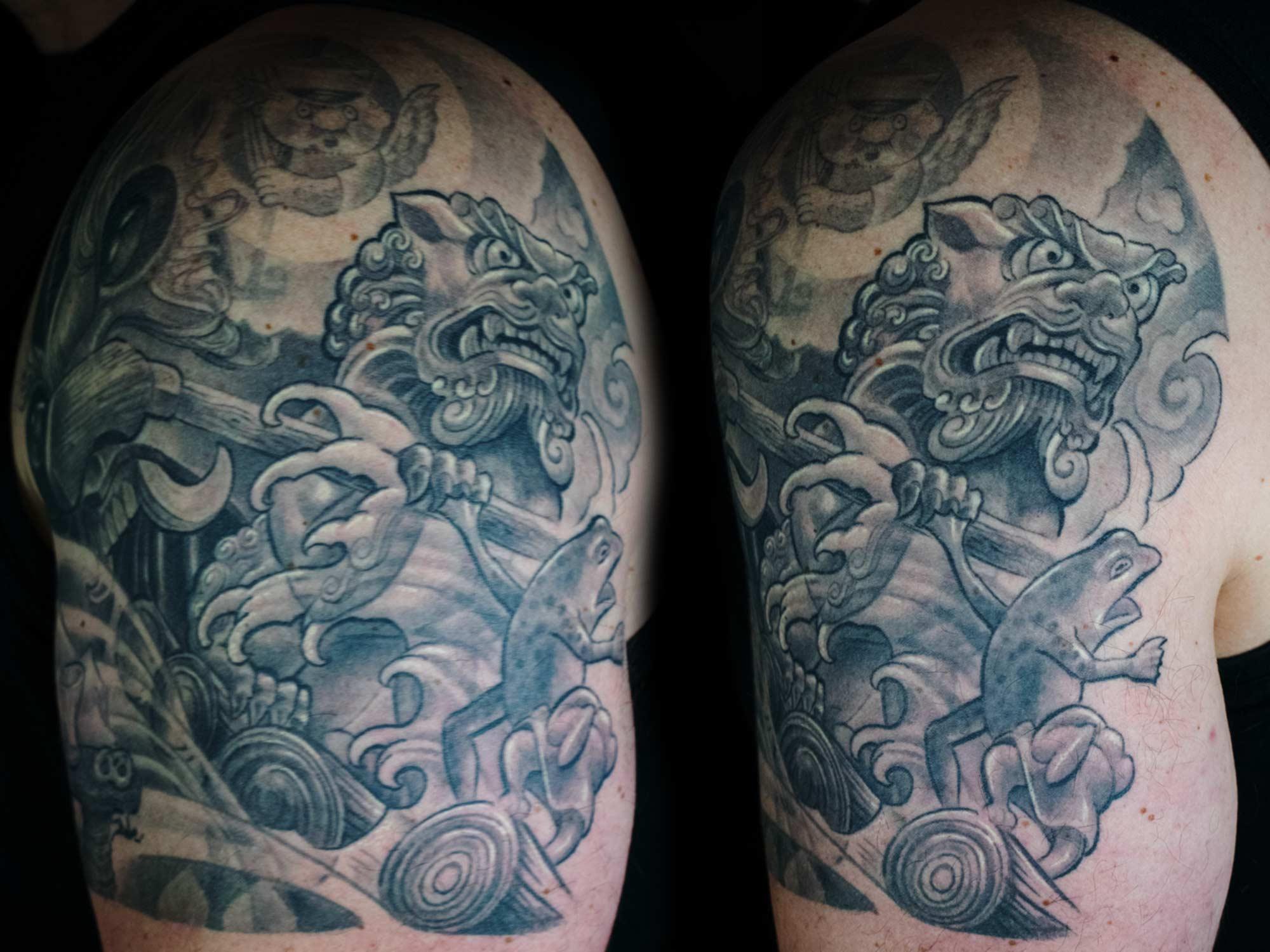 Oni-Maske-japanisch-Isar-Foo-Dog-Bayerische-Höllentalklamm-Aloisius-Hendl-Frosch-Flossfahrt-Tattoo-Raul-Shit-for-Life-Hits-for-Life--2