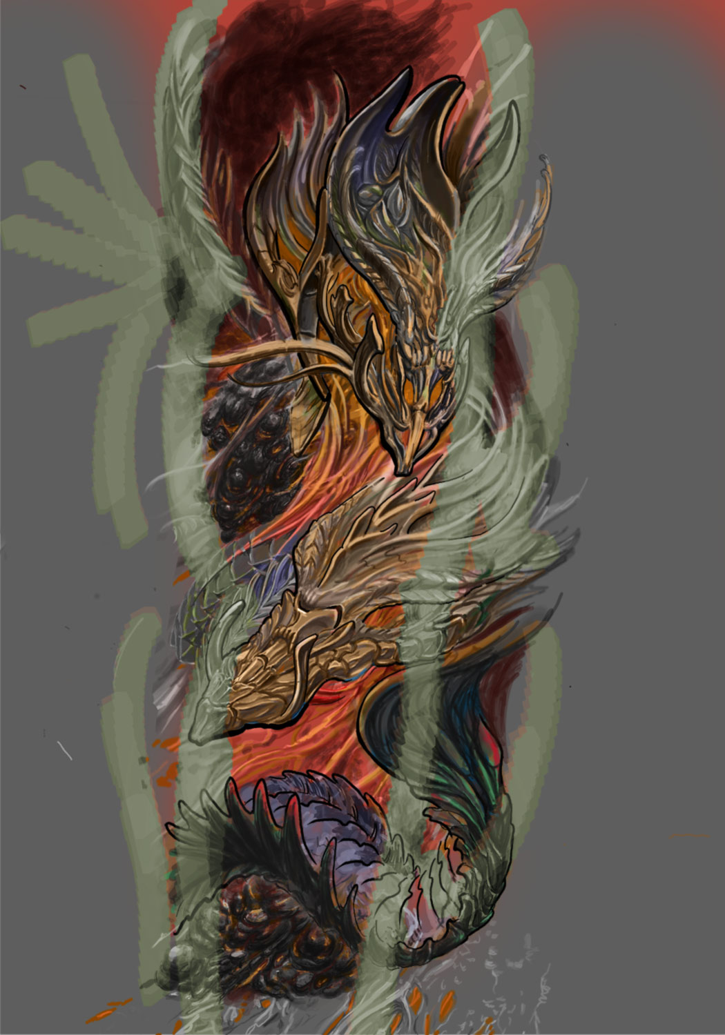 Feuerdrache4Alien-Photoshop-AffinityPhoto-Zeichnung-Art-Seleeve-Wanna-Do-Biomechanik-Raul-Tattoo-Muenchen-Hits-for-Life-tattoo-Sleeve-mit-Begrenzung-Arm