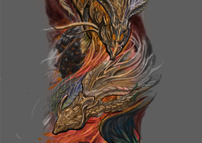 Tattoo Sleeve Wanna-Do Lava Feuerdrache
